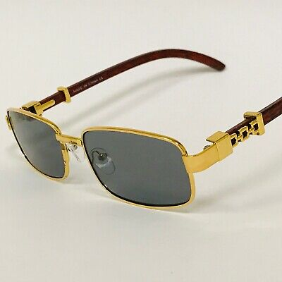 Fashion Gold Metal Frame Black Brown Buffs Rap Hip-hop Shades New Hot (Black Sunglasses Gold Frame)
