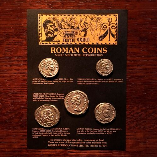 Set of 5 One-Sided Ancient Roman Coin Replicas •Educational Resource• FREE SHIP!