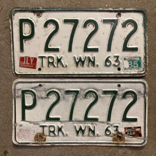 1963 Washington truck license plate pair P 27272 YOM DMV clear farm