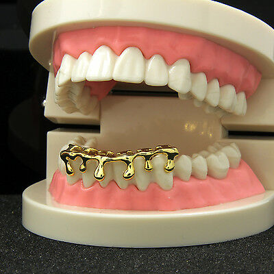 Custom Fit 14k Gold Plated Hip Hop Teeth Drip Grillz Caps Lower Bottom Grill