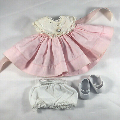 White Dress Pink Shoes (Vogue Tagged Ginnette Pink Dress w-White Collar + Panties, Shoes (No)