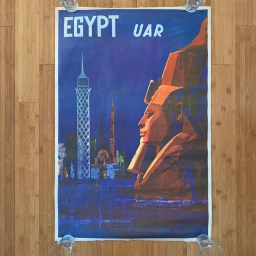 Vintage EGYPT UAR Travel Poster Original 60s Poster Sphinx United Arab Republic