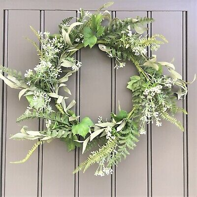 Large Mixed Foliage and Ferns Meadow Wreath 45cm Easter Spring Summer Collection