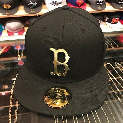New Era Boston Red Sox Fitted Hat BLACK/GOLD Metal - Black Gold Fitted Hats