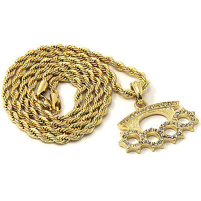 Knuckle dusterebay 1 mens gold iced cz knuckle duster pendant 30 rope chain hip hop necklace d878 mozeypictures Choice Image