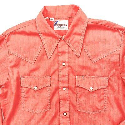1970s Mens Shirt Styles – Vintage 70s Shirts for Guys Mens Vintage 1970s Pearl Snap Western Shirt Medium Salmon Rappers USA Big Collar $37.77 AT vintagedancer.com