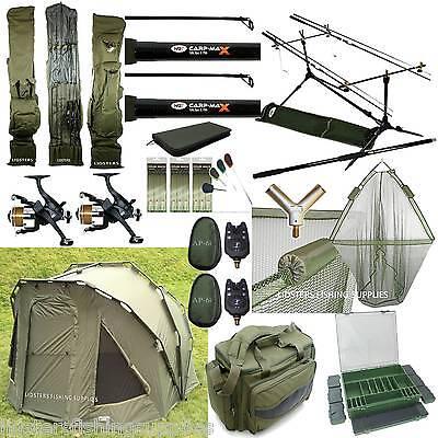 Complete Full Carp Fishing set up 2 man Bivvy 2 Rods Reels Bag Alarm Holdall Net