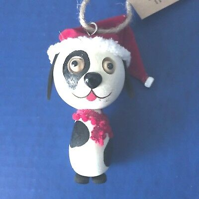 CRAZY HEAD Eco-Friendly Wooden PUPPY DOG Christmas Ornament NWT New
