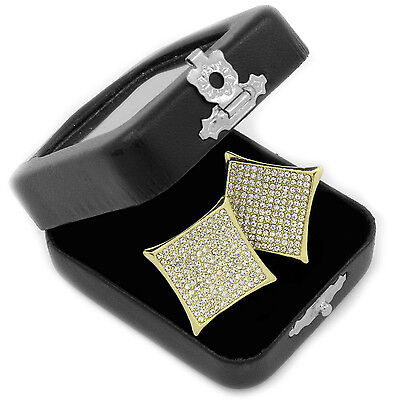 Men's Hip Hop Iced Out Micro Pave 10 Row Kite Butterfly Back Stud Earrings E61