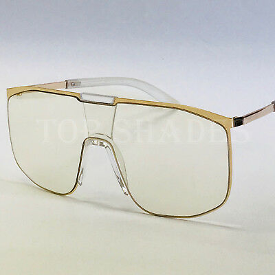 Men Women Eye Glasses Fashion Big Oversize Flat Lens Clear Aviator (Aviator Glasses Women)