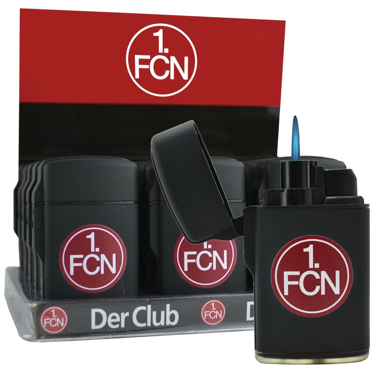 Feuerzeug 1 FC Nürnberg 3er oder 6er Set Elektronik Gasfeuerzeug Logo OVP FCN