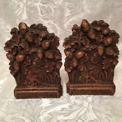 Brown Wood Color Set of Vintage SYROCO Tree Leaves & Acorns Designed Book Ends