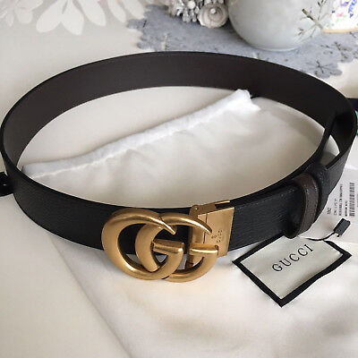 Auth Gucci Reversible Belt BLACK BROWN GG Gold Buckle size 105 / 42 fits 36-38