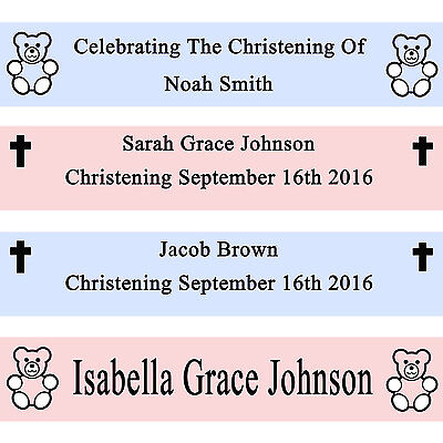 PERSONALIZED BABY PINK BLUE CHRISTENING BANNER DECORATION CONFIRMATION COMMUNION - Communion Banner