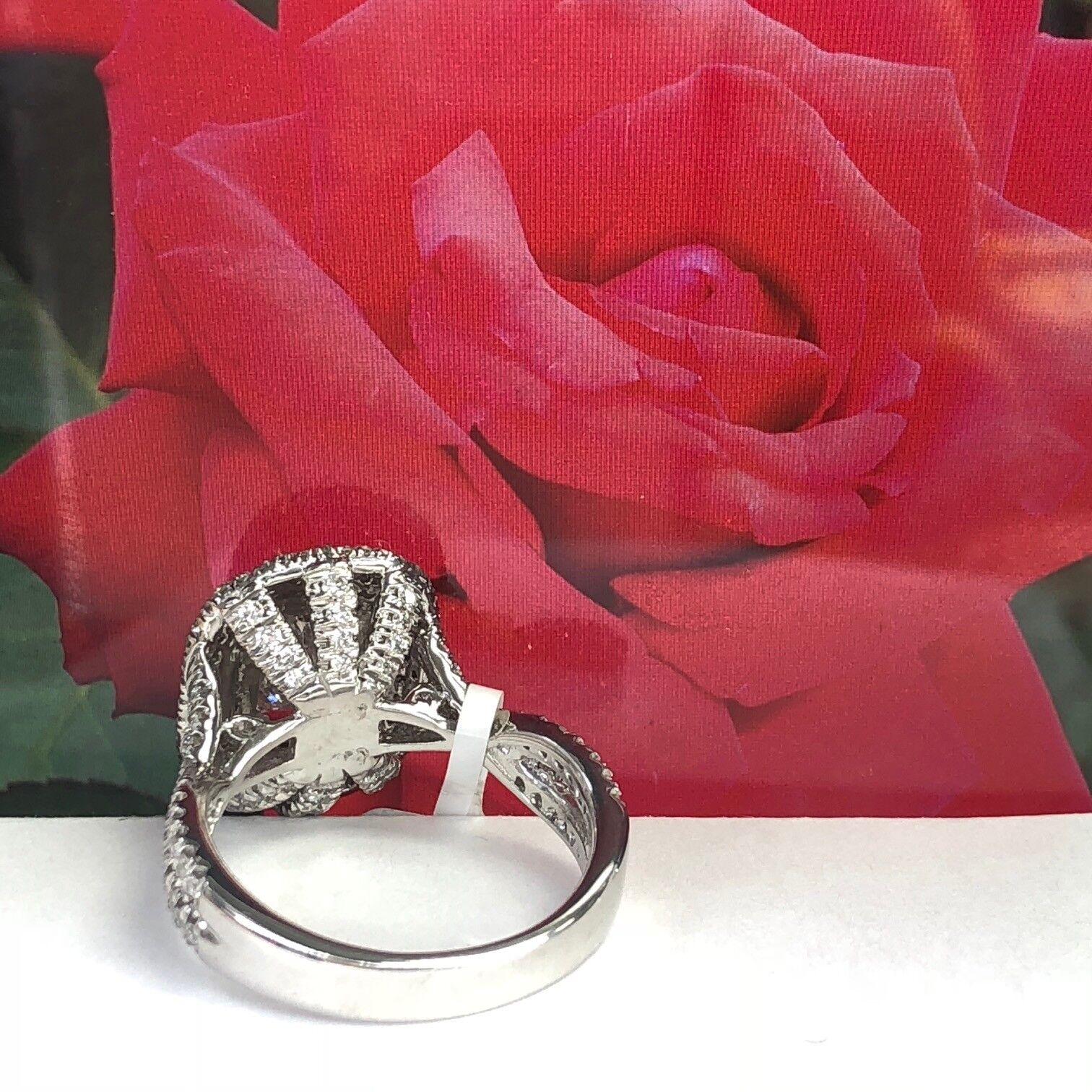 GIA Certified 2.18Ct F-SI1 Radiant Cut Diamond Engagement Infinity Ring 18k Gold 3