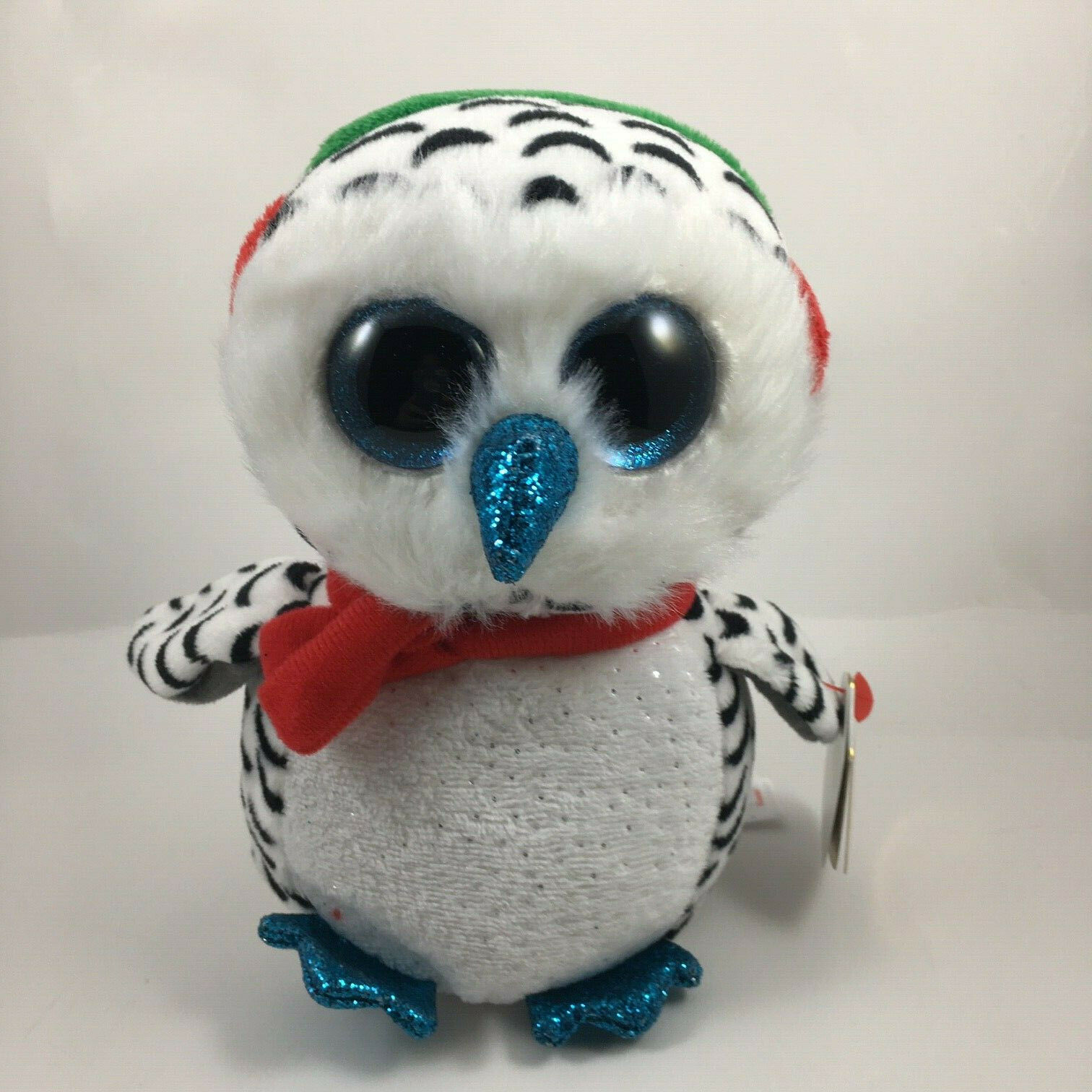 "TY Christmas Beanie Boos 6"" NESTER the Owl Plush Stuffed Ani"