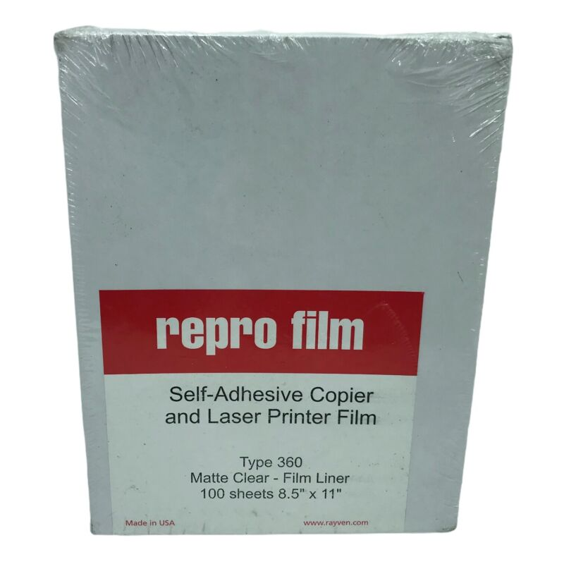 "Rayven Type 360 Repro Film 8.5"" x 14"" Self-Adhesive Film Matte  Finish 100 sheet"