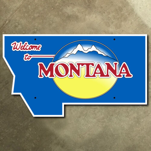 Montana state line highway marker road sign mountains 1997 56 x 32