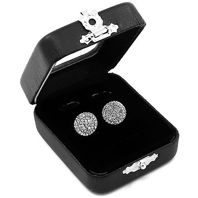 Men's Silver Hip Hop Iced Out Paved Cz Round Screw Back Stud Earrings L E24