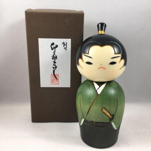 """Japanese 5.5""""H Creative KOKESHI Wooden Doll Green WAKA SAMURAI Boy Made in Japan"""