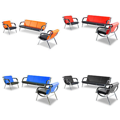 3pcs Office Reception Airport Chair Set Pu Leather Waiting Room Bench 4 Color