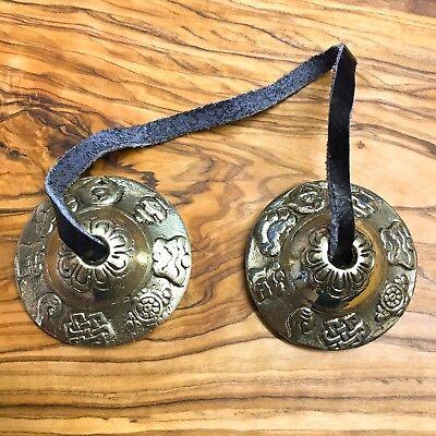 Hand Made Tibetan Tingsha Bells Cymbals 4.5cm Asta Mangal Nepal Bronze Buddhist