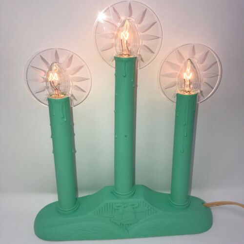 NEW Jadeite Green 3-Light Candolier/Electric Window Candle with FLAME  Halos!