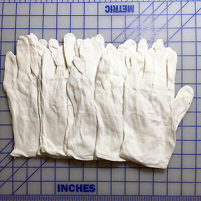 5 Pair Of Thin White Cotton Work Inspection Gloves