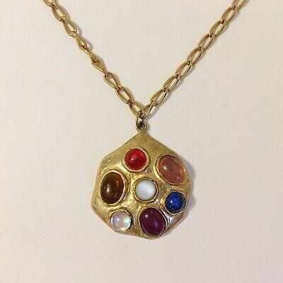 Resin Cabochon Stone Pendant Necklace Glass Gold Tone Metal Chain Rustic Look