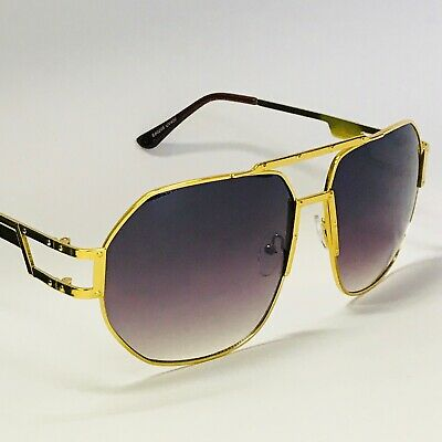 Men's Designer Sunglasses Aviator Oversize Brown Black Gold Frame Women Fashion