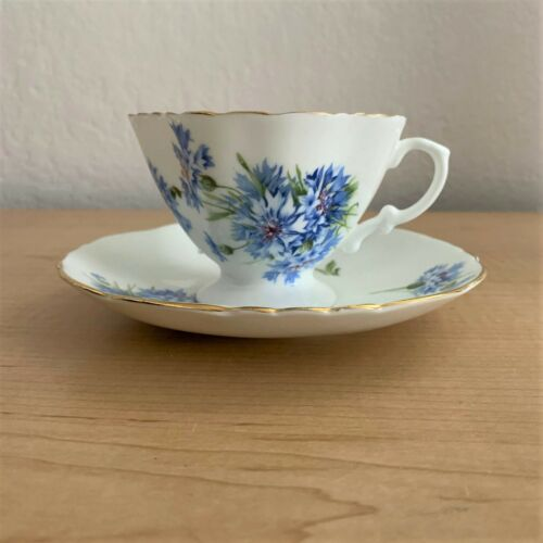 Hammersley & Co. Blue Cornflowers Bone China Tea Cup and Saucer Set w/Gold Trim