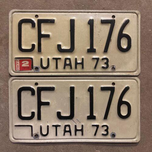 1973 Utah license plate pair CFJ 176 YOM DMV clear Ford Chevy Pontiac 1977 1986