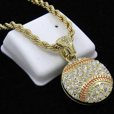 Mens Gold Plated Hip-Hop Lucky Baseball Cz Pendant 30