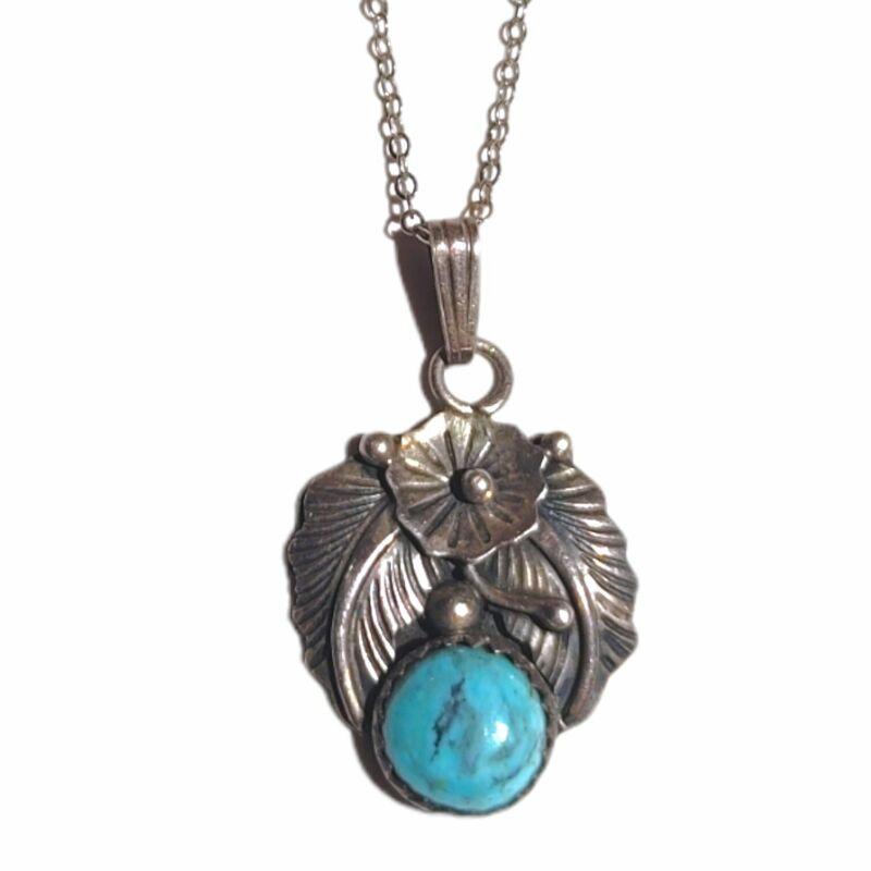 Native Navajo Russ Rockbridge RR Turquoise Sterling Silver Necklace