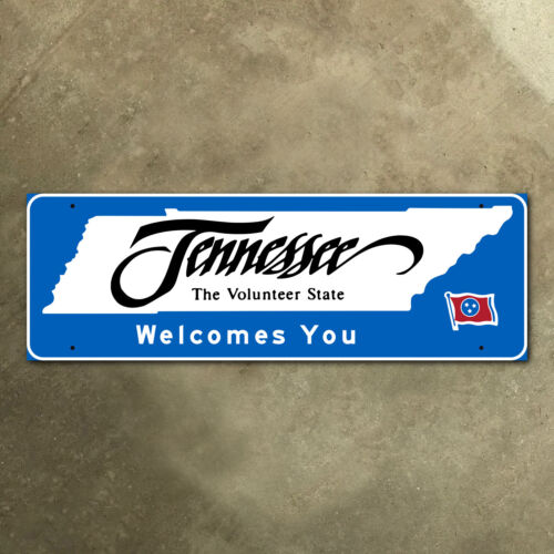 Tennessee state line highway marker road sign 2003 Volunteer State flag 30 x 10