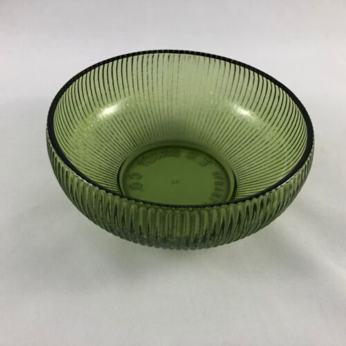"""Vinrage E.O. Brody Co. Cleveland Glass Green Ribbed Bowl 6"""" Dish"""