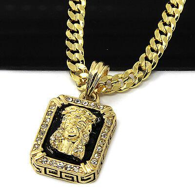 14k Gold Plated Hip-Hop Black Ruby Jesus Face 30