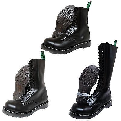 Solovair NPS Hand Made in England Black Steel Toe Boots Stiefel Schwarz  Toe Herren-schuhe