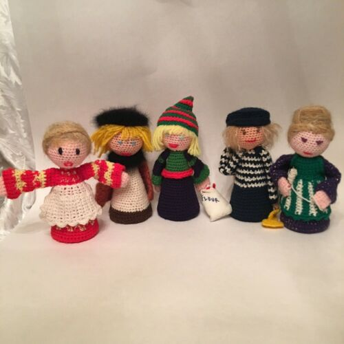 11 Vintage Crochet Christmas ANGELS, KINGS, & LADIES W/Styrofoam Cone Inserts