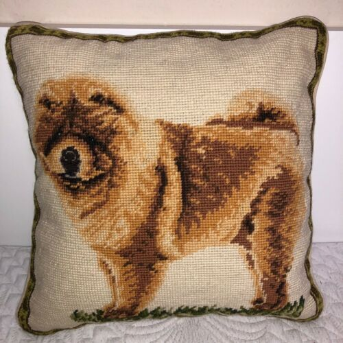 """Brand New Chow Chow Dog 100% Wool Petite Needlepoint Pillow 14"""" Square"""