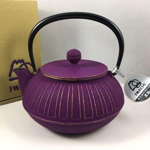 IWACHU Japanese Iron Tetsubin Teapot Gold Purple Chrysanthemum 22 oz. JAPAN MADE