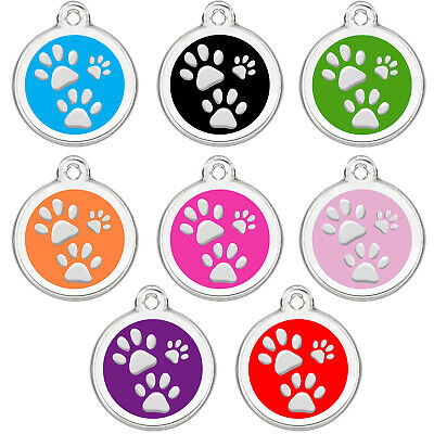 Stainless Steel Enamel Pet ID Tags Designers Round -