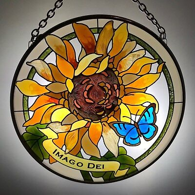 Joan Baker Hand painted Suncatcher-MC306R-Sunflower//IMAGO DEI Art Glass New -