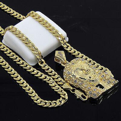 "Mens Gold Plated Hip-Hop Iced Out Cz Jesus Pendant 24"" Cuban Chain Necklace D528"