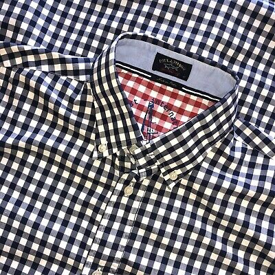 Paul & Shark Yachting Blue Gingham Check Plaid Shirt Men's Large made in Italy