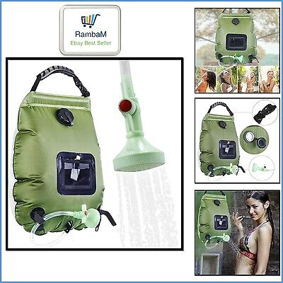 Solar Shower Bag Travel Camping Portable Outdoor Water PVC Pipe Risepro 5 Gallon