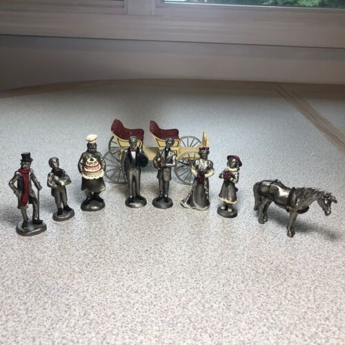 1980s and 90s VINTAGE HUDSON PEWTER LA ROCCA WINTER VILLAGERS FIGURINES