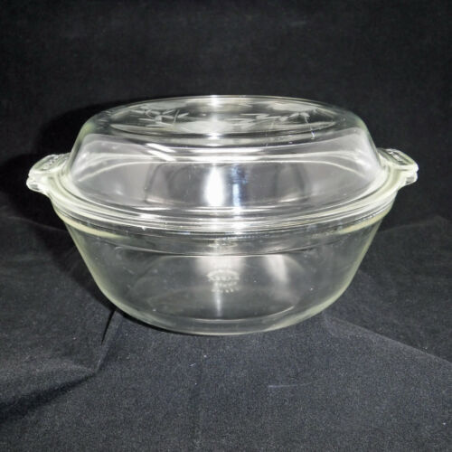 Pyrex Etched Rose Casserole Dish with Lid