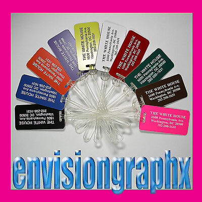 Set of 10 Personalized Plastic Engraved LUGGAGE ID TAGS (Your choice of color)
