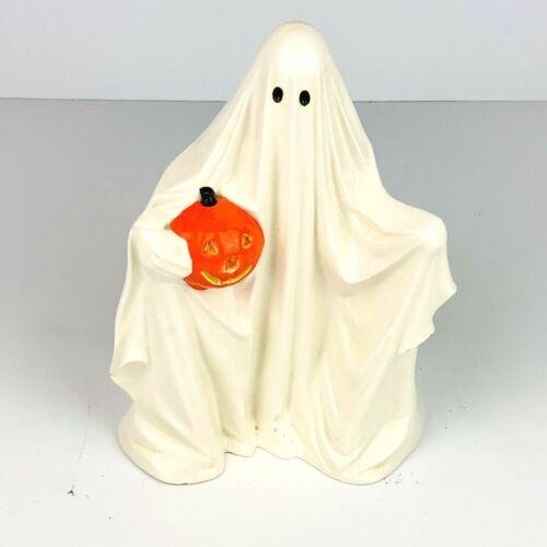 Vintage Byron Molds 9in Ceramic Ghost w/ Pumpkin High Gloss Halloween 81